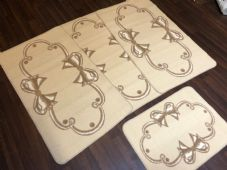 ROMANY GYPSY WASHABLES SETS OF TOURER SIZES 67X120CM MATS/RUGS CREAM/BEIGE BOWS